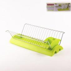 0769В Сушилка для посуды 41,5*26*11,5см. из хромир.стали с поддоном Зеленый