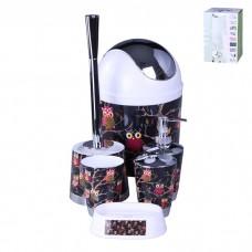 IM99-2347 Набор для ванны 6 предметов: дозатор,подставка под зубные щетки,стакан,мыльница,ершик, ведро Совы