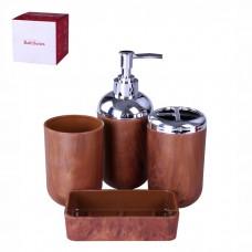 IM99-2334 Набор для ванны 4 предмета: дозатор, подставка под зубные щетки, стакан, мыльница Дерево