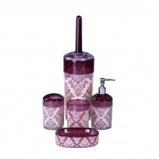 IM99-2337 Набор для ванны 5 предметов: дозатор, подставка под зубные щетки, стакан, мыльница, ершик для унитаз Узор