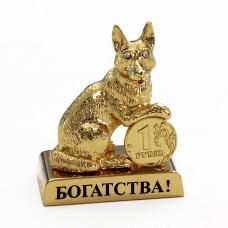 ST-DOG2/1 Собака с монеткой и пожеланием 2,4*4 см.