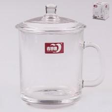 ТА13-0001 Кружка с крышкой стекло 420мл. Прозрачный