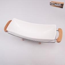 ТА25-0016 Блюдо на метал. подставке с бамбуковыми ручками 47,7*16,2*14см