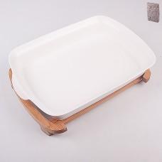 ТА25-0018 Блюдо на бамбуковой подставке 40,3*28,3*7,8см