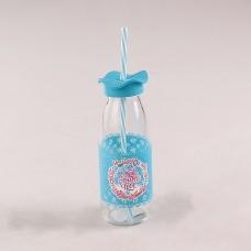 80540 Бутылочка для смузи 0,5л. с трубочкой Голубая