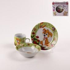 3850490 Набор детской посуды «Щенок», 3 предмета: кружка 230 мл, миска 400 мл, тарелка 18 см